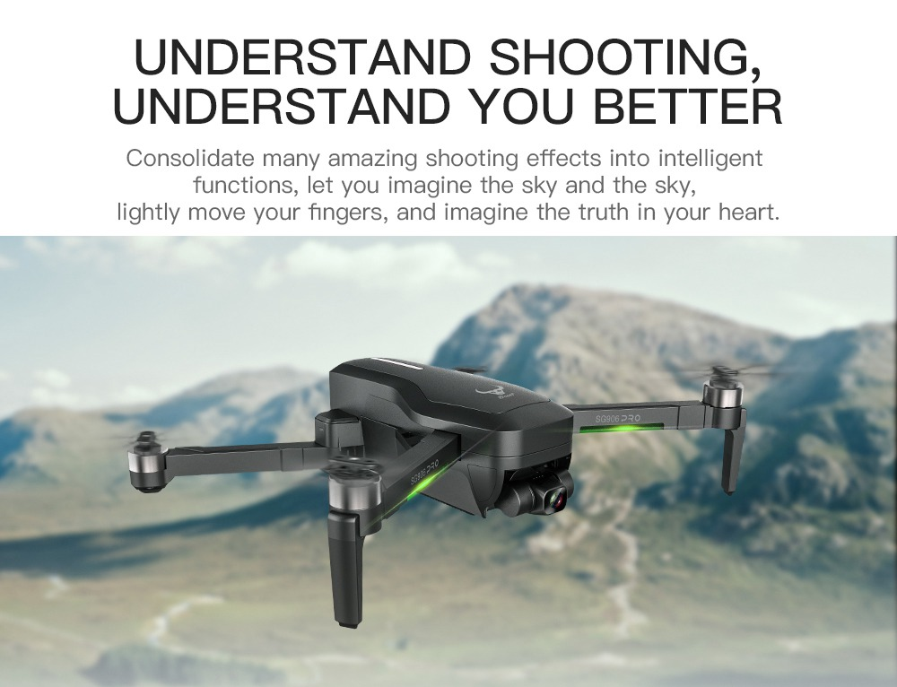 ZLRC SG906 Pro 2 4K GPS 5G WIFI FPV With 3-Axis Gimbal Optical Flow Positioning Brushless RC Drone Black - Two Batteries with Bag