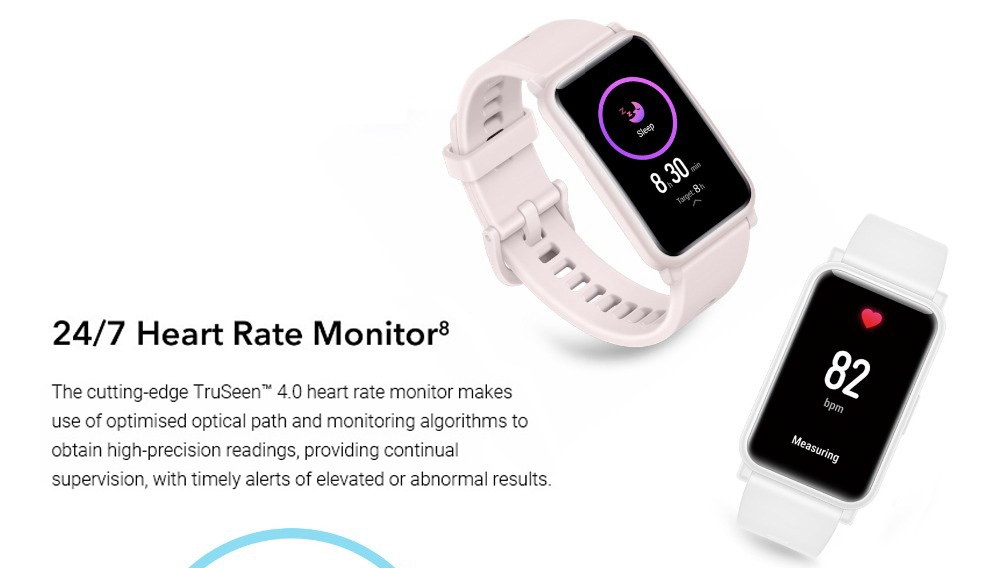 """HUAWEI  Honor ES Smartwatch 1.64"""" AMOLED Touch Screen 95 Sports Modes Monitor Blood Oxygen Heart Rate Pressure Bluetooth 5.1 5ATM Waterproof - White"""