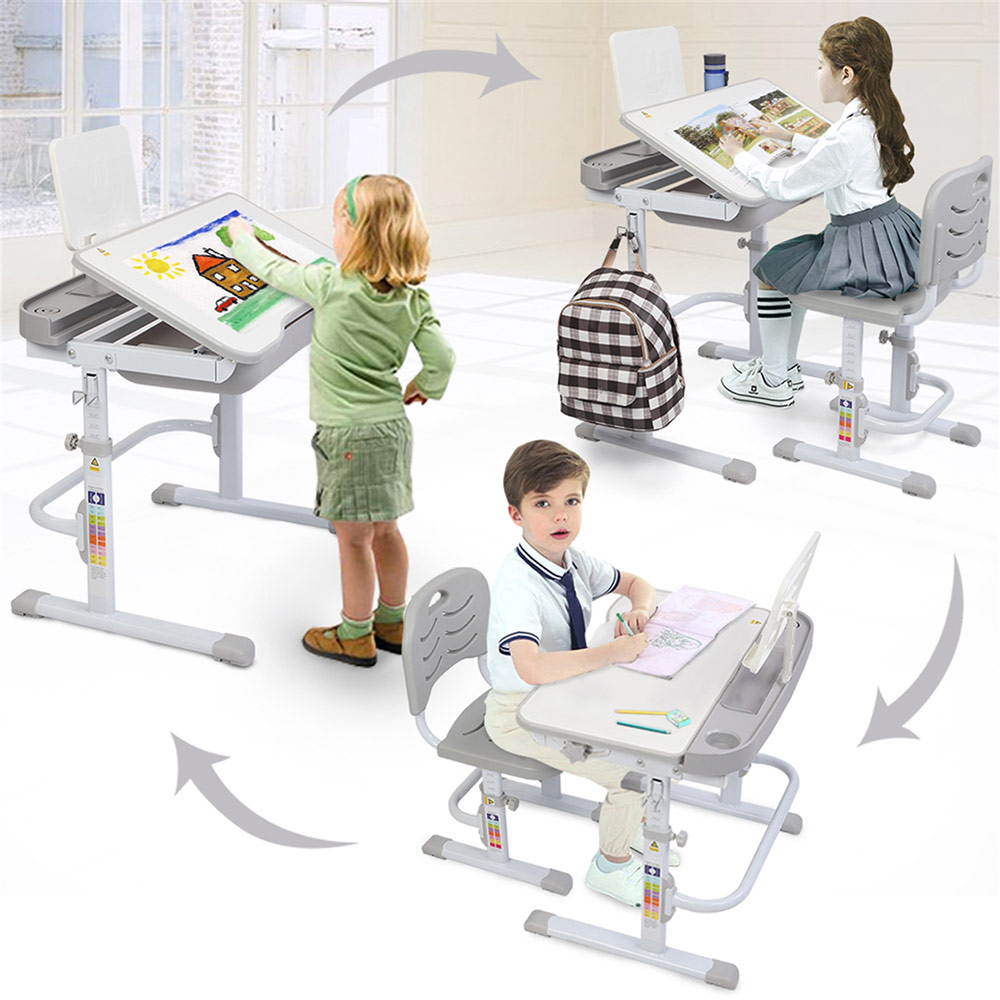70CM Kids Study Desk and Chair Set Lifting Table Tilt Top with Reading Stand - Gray