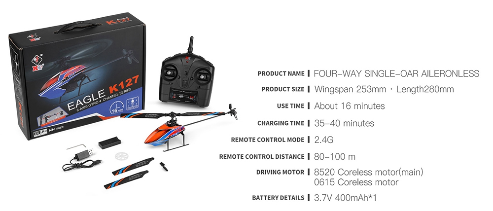 XK K127 4CH 6-Axis Gyro RC Helicopter Altitude Hold Flybarless RTF - Two Batteries