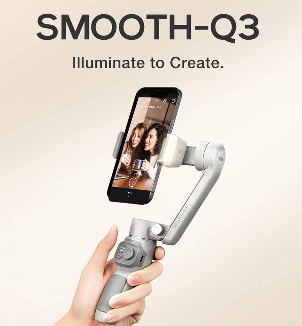 Zhiyun Smooth Q3 3-Axis Smartphone Gimbal Mobile Stabilizer with Build-in LED Fill Light - Standard Version