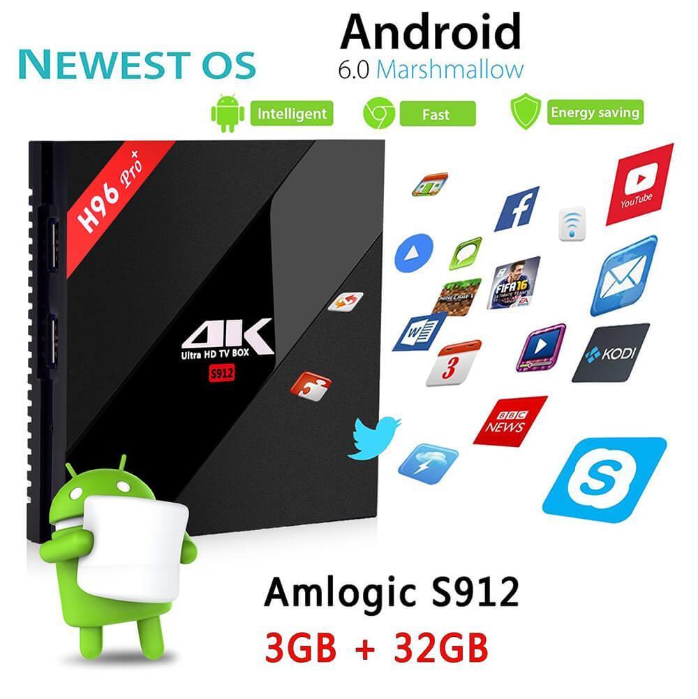 [Poland Stock]H96 PRO Plus KODI 17.3 Android 7.1 Amlogic S912 TV BOX 4K 3GB/32GB 802.11AC WIFI 1000M LAN