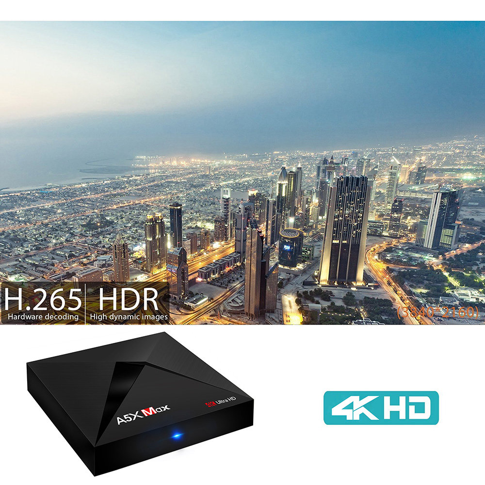 A5X MAX Android 8.1 KODI 17.3 4GB/32GB RK3328 4K HDR TV BOX WIFI Bluetooth LAN VP9 USB3.0