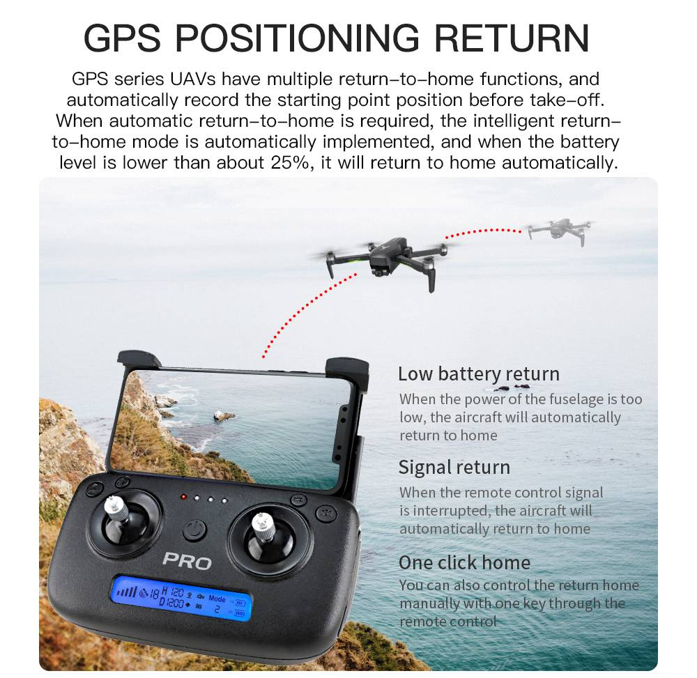ZLRC SG906 Pro 2 4K GPS 5G WIFI FPV With 3-Axis Gimbal Optical Flow Positioning Brushless RC Drone Black - Three Batteries with Bag