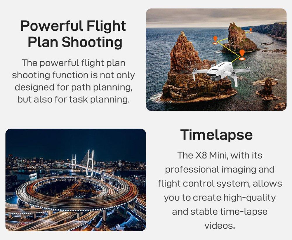 Xiaomi FIMI X8 Mini 4K kamera 8KM GPS WiFi FPV összecsukható RC drón 3 tengelyes mechanikus Gimbal 30 perc repülési idővel RTF - fehér