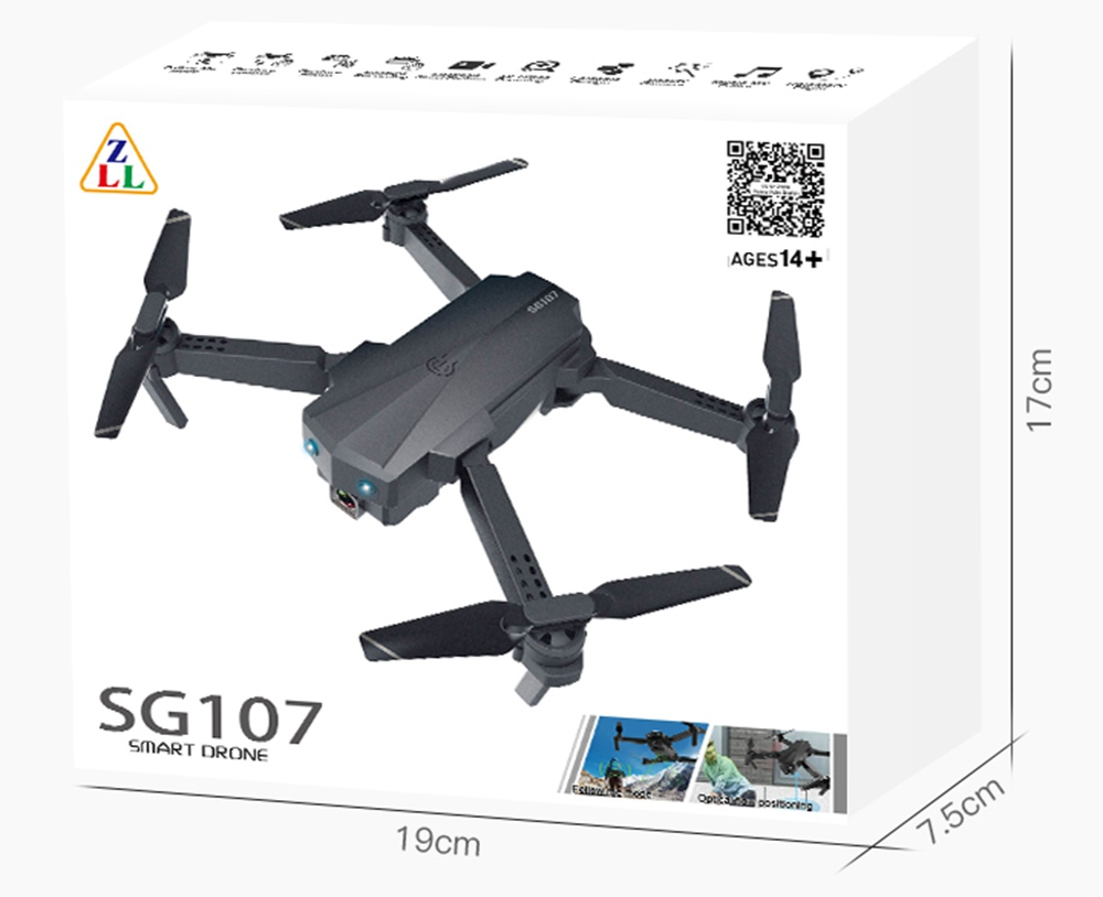 ZLRC SG107 1080P Optical Flow Foldable Drone With Switchable Dual Cameras 50X Zoom RC Quadcopter RTF