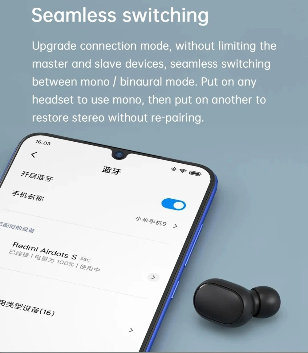Xiaomi Redmi AirDots 2 TWS Earbuds Bluetooth5.0 DSP Noise Reduction 7.2mm Driver Unit