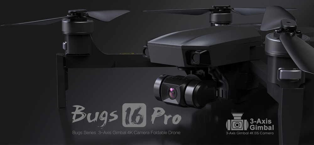MJX Bugs 16 Pro B16 Pro 4K 5G WIFI FPV GPS RC Drone with 3-axis Coreless Gimbal 50x Zoom - Two Batteries